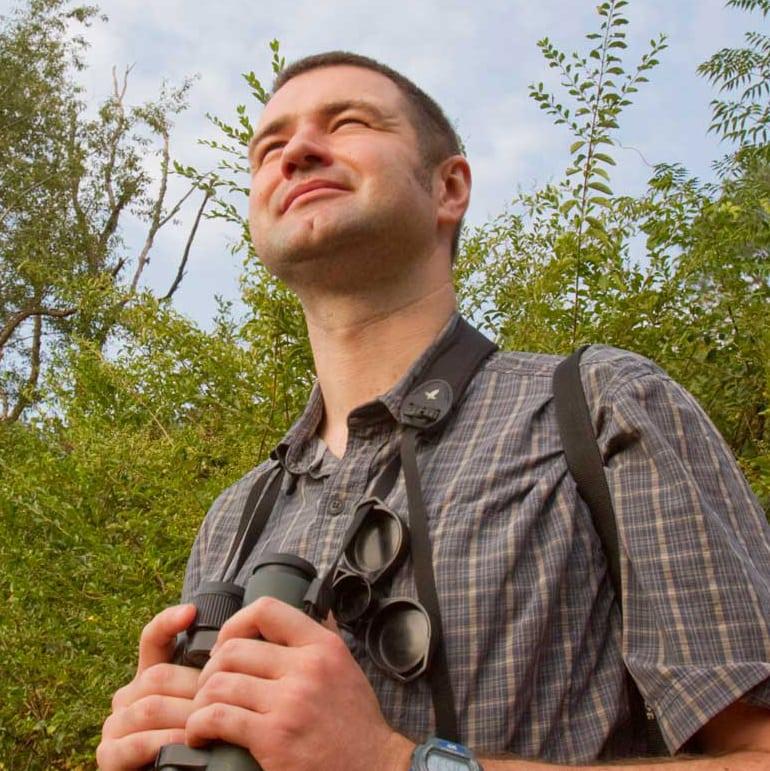 photo: Richard Hall with binoculars