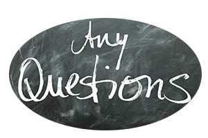 "illustration: ""Any Questions?"" on chalkboard"